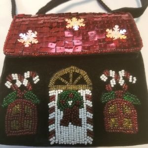 Beaded Christmas house purse